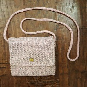 THE SAK Pink Silver Sparkle Crochet Crossbody bag